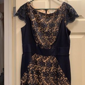 Jessica Simpson navy and tan party dress